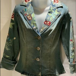 Embroidered Floral Jean jacket Small